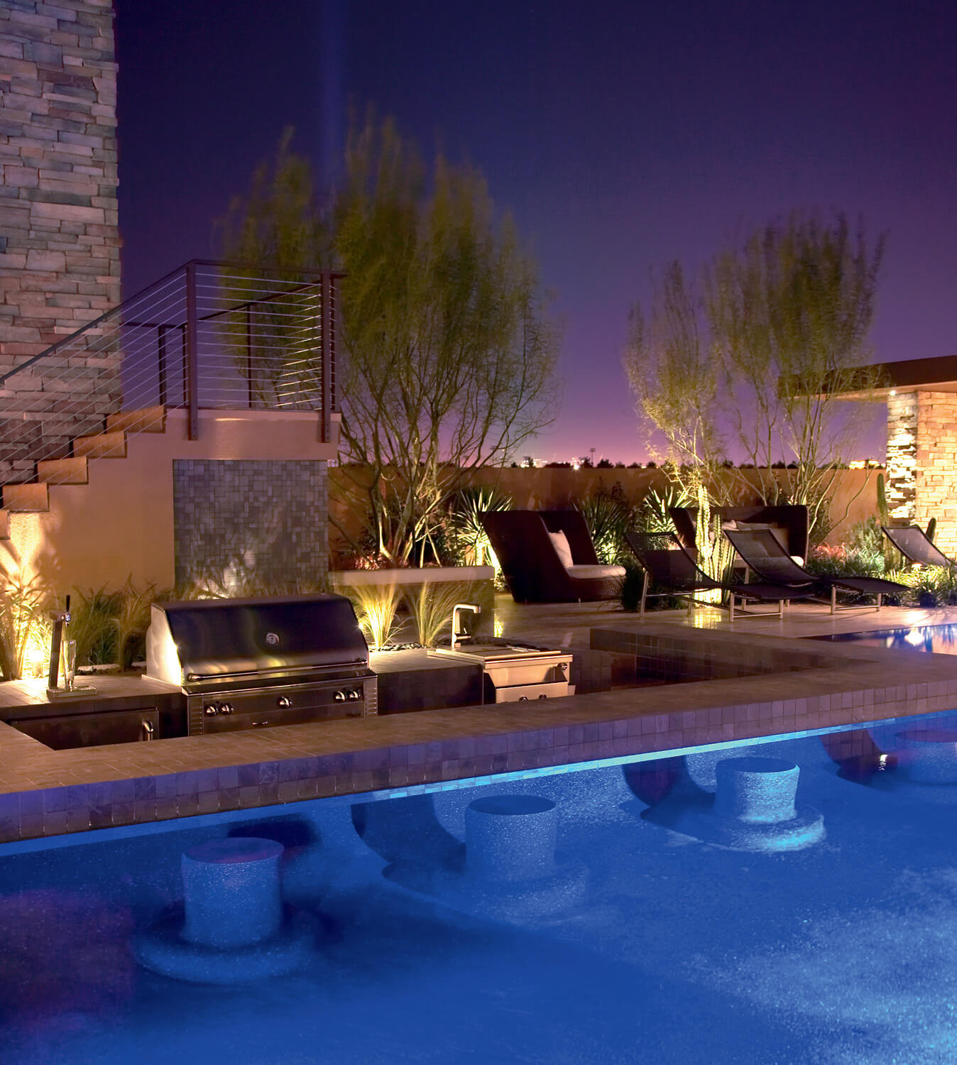 home swimming pools at night. The New American Home 2009 \u2013 Swim Up Bar At Night Swimming Pools